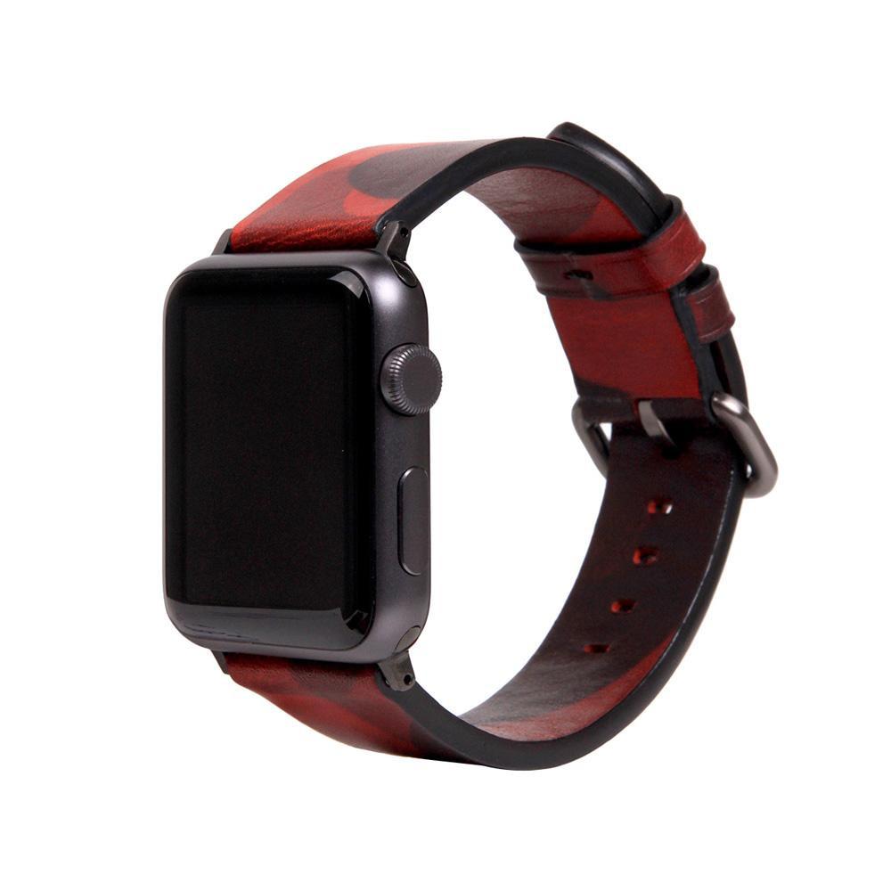 【クーポンあり】【送料無料】SLG Design(エスエルジーデザイン) Apple Watch バンド 42mm/44mm用 Italian Camo Leather レッド SD16047AW