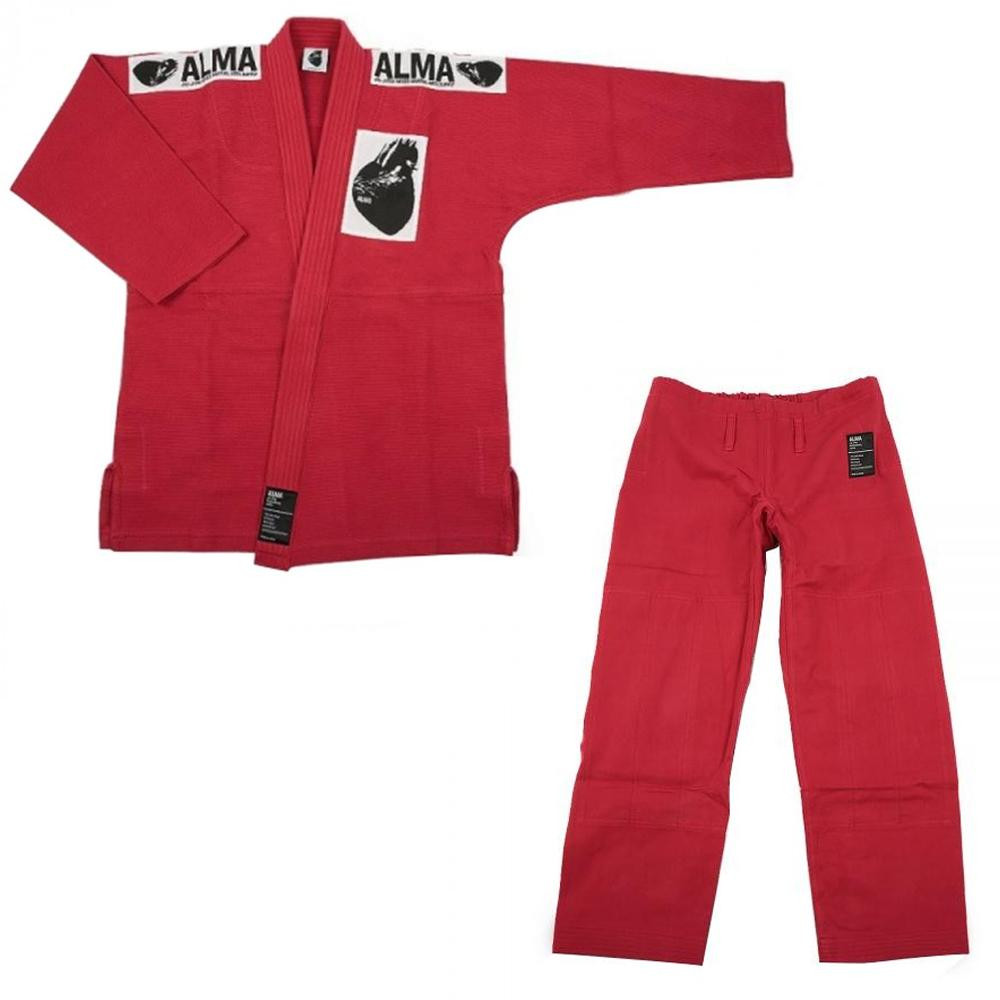 【クーポンあり】【送料無料】ALMA アルマ レギュラーキモノ 国産柔術衣 A1 赤 上下 JU1-A1-RD 着心地柔らか!