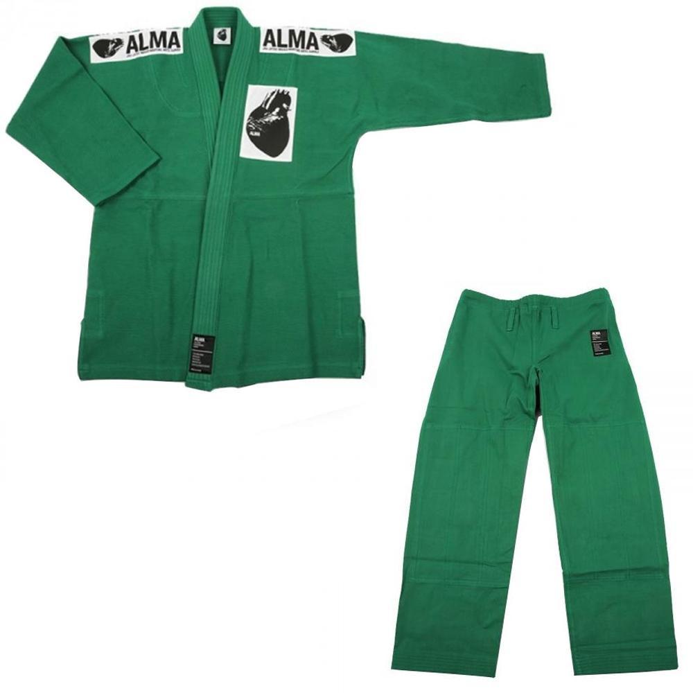 【クーポンあり】【送料無料】ALMA アルマ レギュラーキモノ 国産柔術衣 A1 緑 上下 JU1-A1-GR 着心地柔らか!