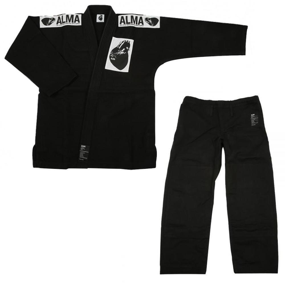 【クーポンあり】【送料無料】ALMA アルマ レギュラーキモノ 国産柔術衣 A4 黒 上下 JU1-A4-BK