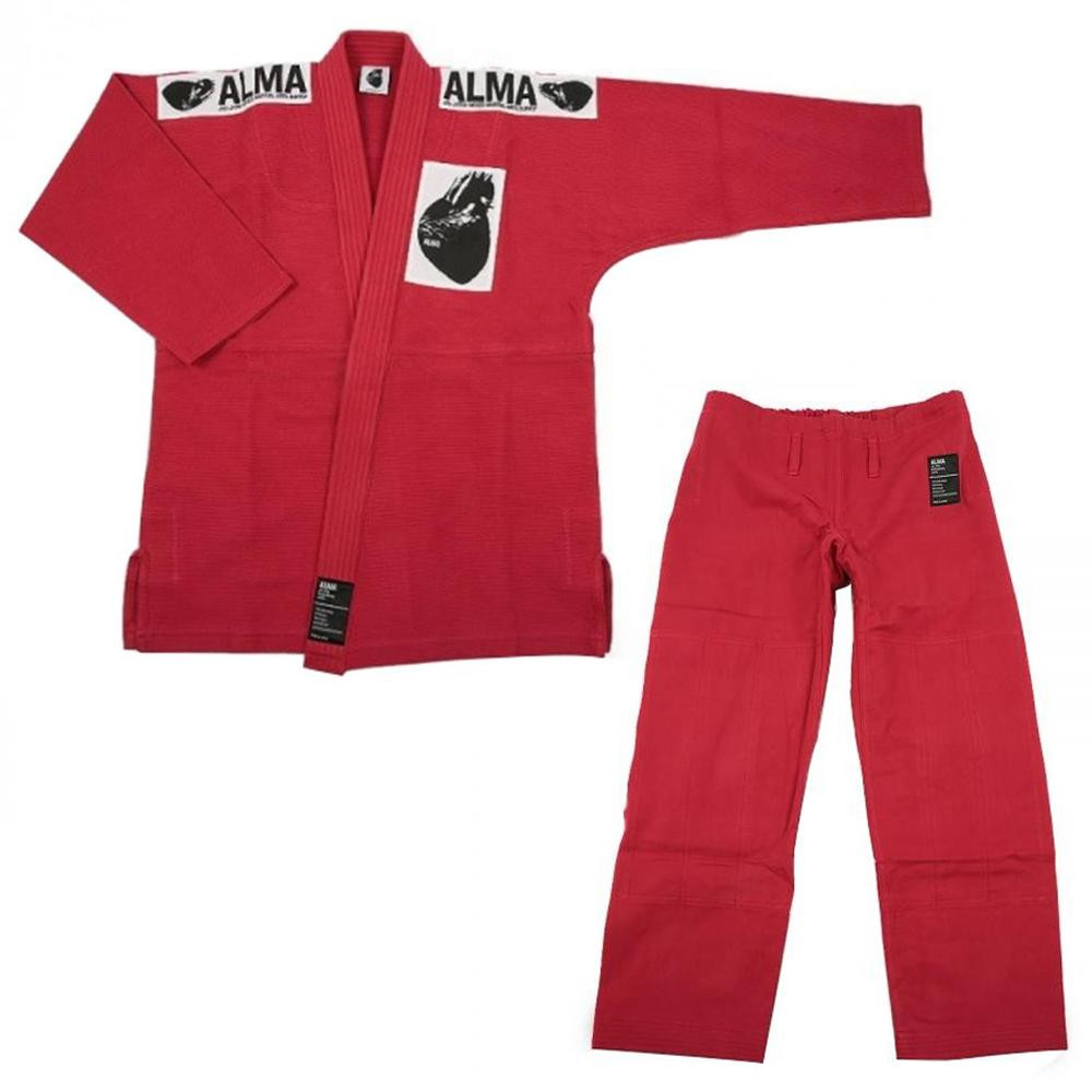 【クーポンあり】【送料無料】ALMA アルマ レギュラーキモノ 国産柔術衣 A4 赤 上下A JU1-4-RD 着心地柔らか!