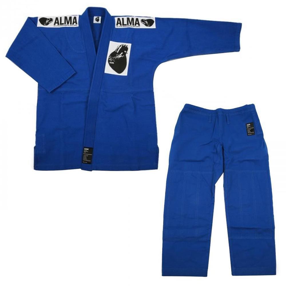 【クーポンあり】【送料無料】ALMA アルマ レギュラーキモノ 国産柔術衣 A5 青 上下 JU1-A5-BU