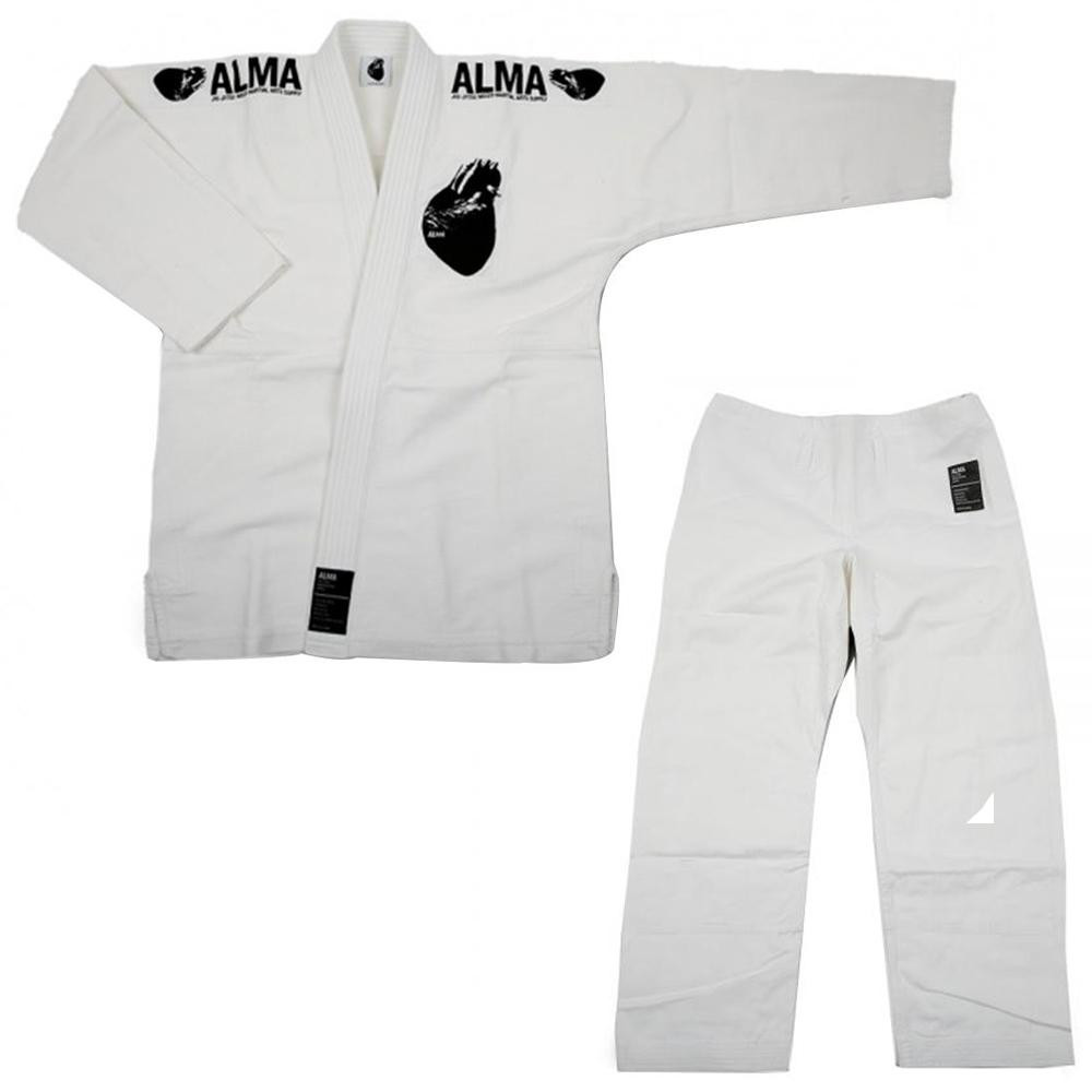 【クーポンあり】【送料無料】ALMA アルマ レギュラーキモノ 国産柔術衣 A5 白 上下 JU1-A5-WH 着心地柔らか!
