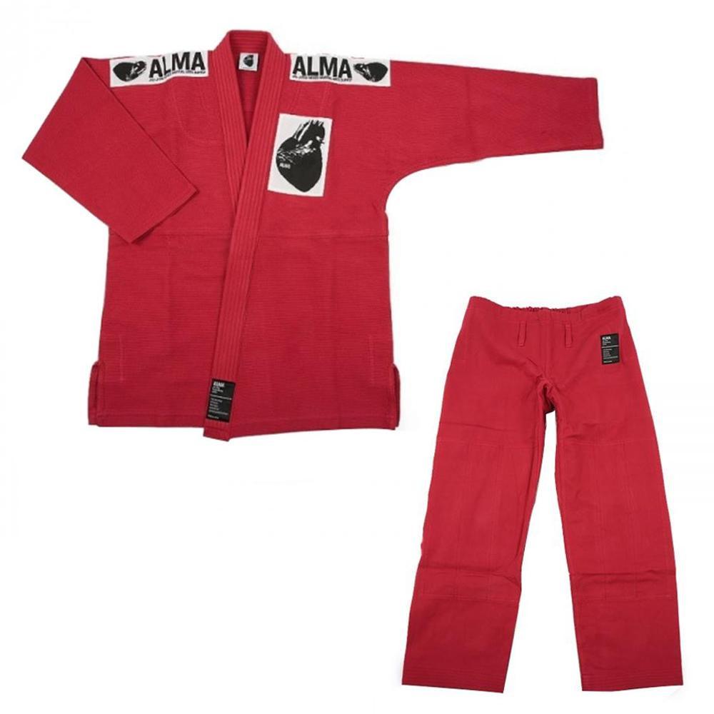 【クーポンあり】【送料無料】ALMA アルマ レギュラーキモノ 国産柔術衣 M0 赤 上下 JU1-M0-RD 着心地柔らか!