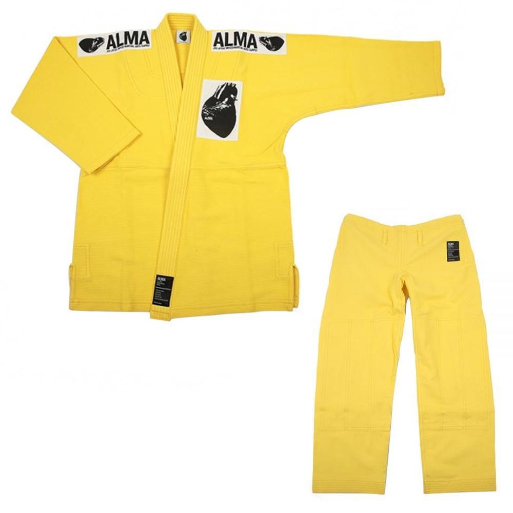 【クーポンあり】【送料無料】ALMA アルマ レギュラーキモノ 国産柔術衣 M2 黄 上下 JU1-M2-YL
