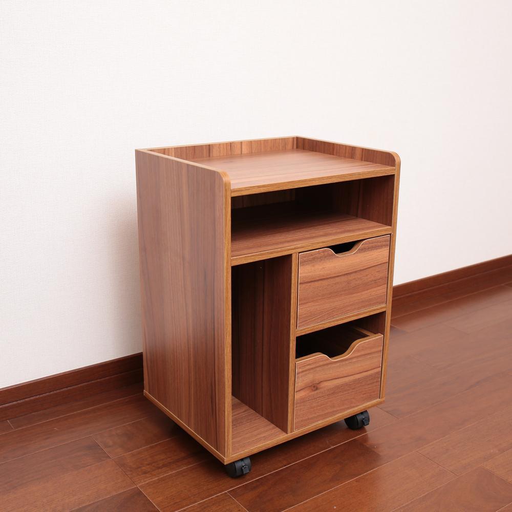 【送料無料】木製テーブル下ワゴン ブラウン LDW-38B 散らかりがちな小物をまとめて収納!