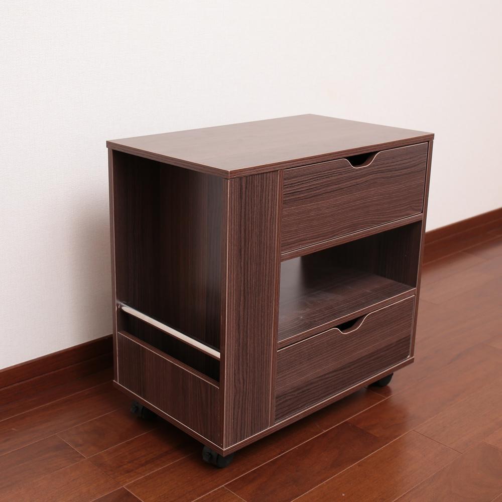 【クーポンあり】【送料無料】木製ソファサイドワゴン ダークブラウン SPTK-50DB ラック 小物 収納 インテリア 棚 おしゃれ キャリー サイドテーブル 家具