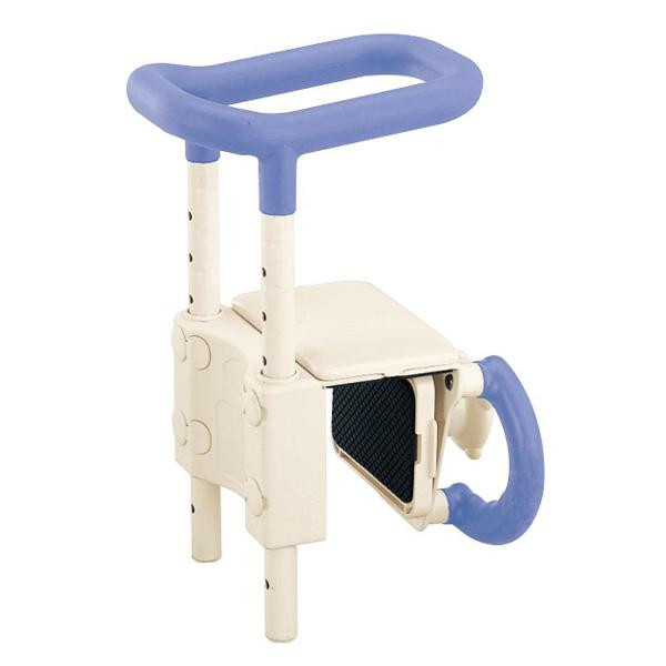 【クーポンあり】【送料無料】高さ調節付 浴槽手すり ブルー UST-130 両手で支えながら浴槽をまたげ、洗い場からもつかめるグリップ。