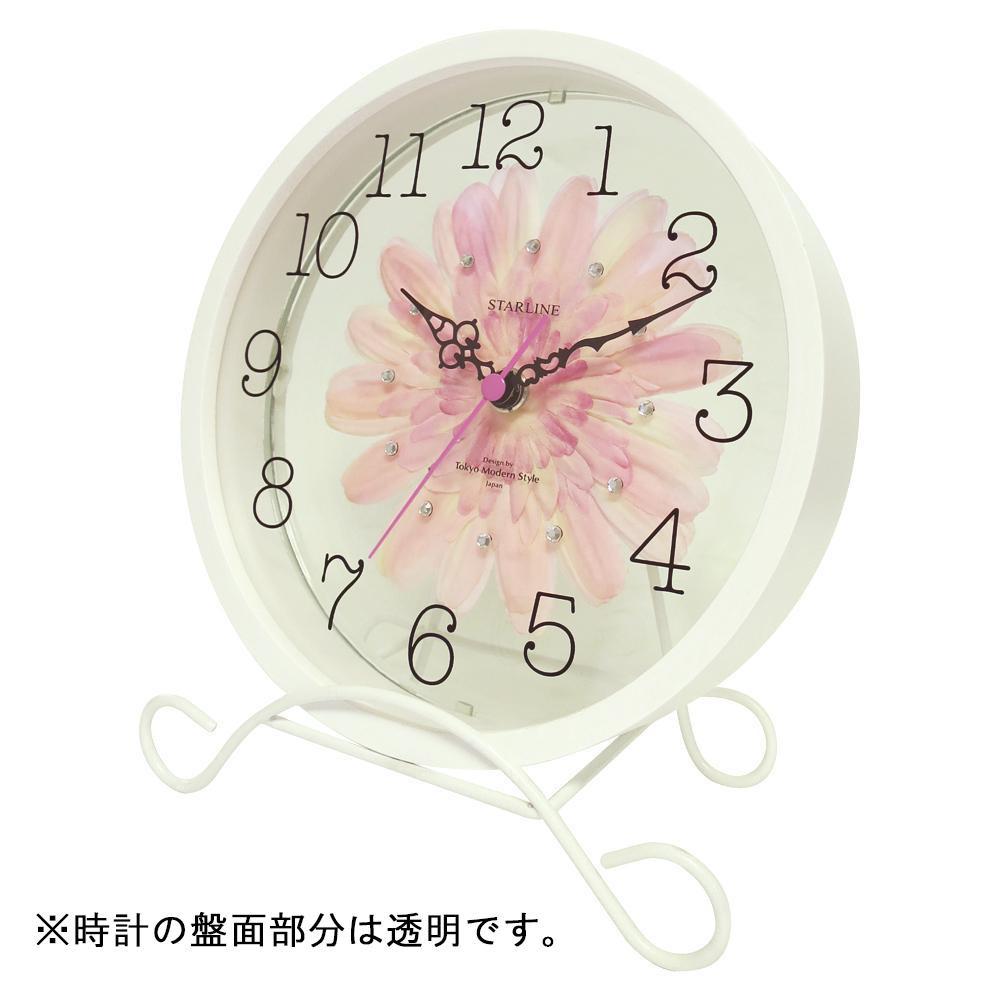 【クーポンあり】アートフラワー 置き時計 PK STW-1203 小さくても存在感のある時計