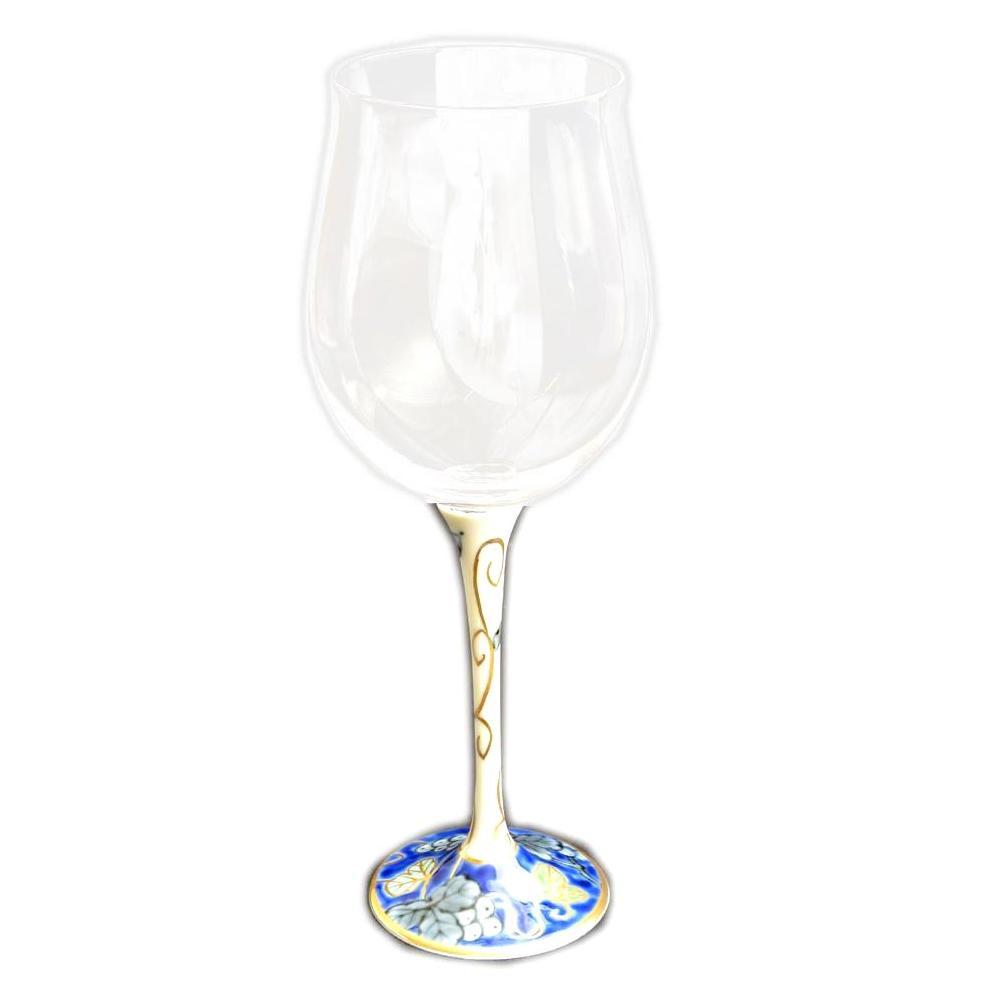 【クーポンあり】【送料無料】有田焼 福泉窯 有田浪漫 ハイレッグワイングラス 小 染錦葡萄 ブルー ガラスの透明性と有田焼の美しさ!