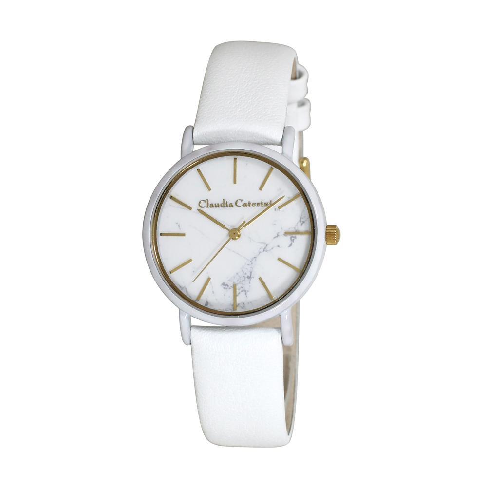 【クーポンあり】【送料無料】腕時計 クラウディア・カテリーニ ホワイト CC-A122-WTM 素材を活かしたファッショナブルで都会的なデザインです。