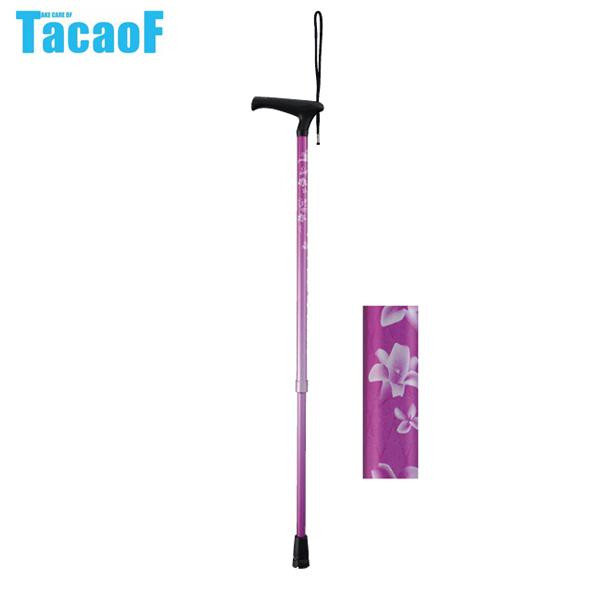 【クーポンあり】【送料無料】幸和製作所 テイコブ(TacaoF) 伸縮杖 LaTata(ラタタ)-L EAU01 ゆり 指が痛くなりにくいL字タイプのグリップ。