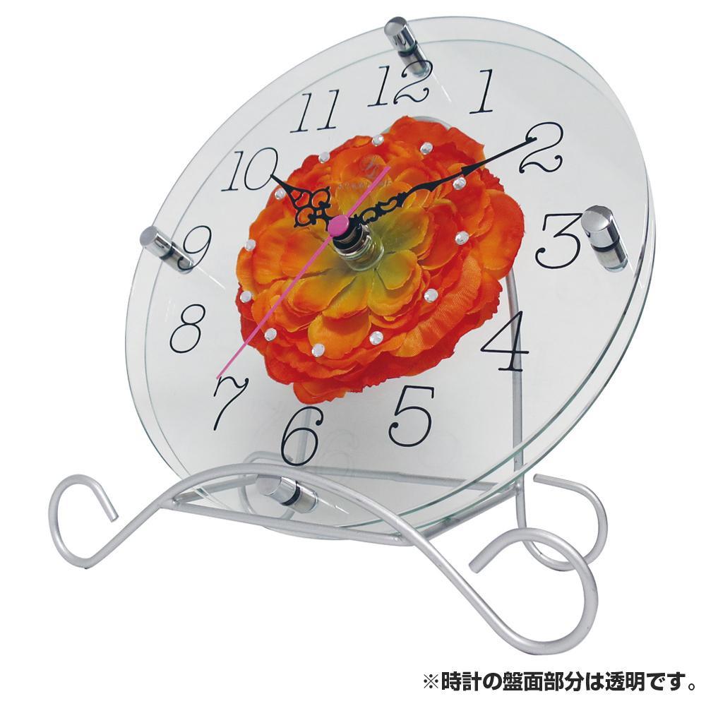 【クーポンあり】アートフラワー 置き時計 OR STW-1194 置き掛け兼用のオシャレな時計