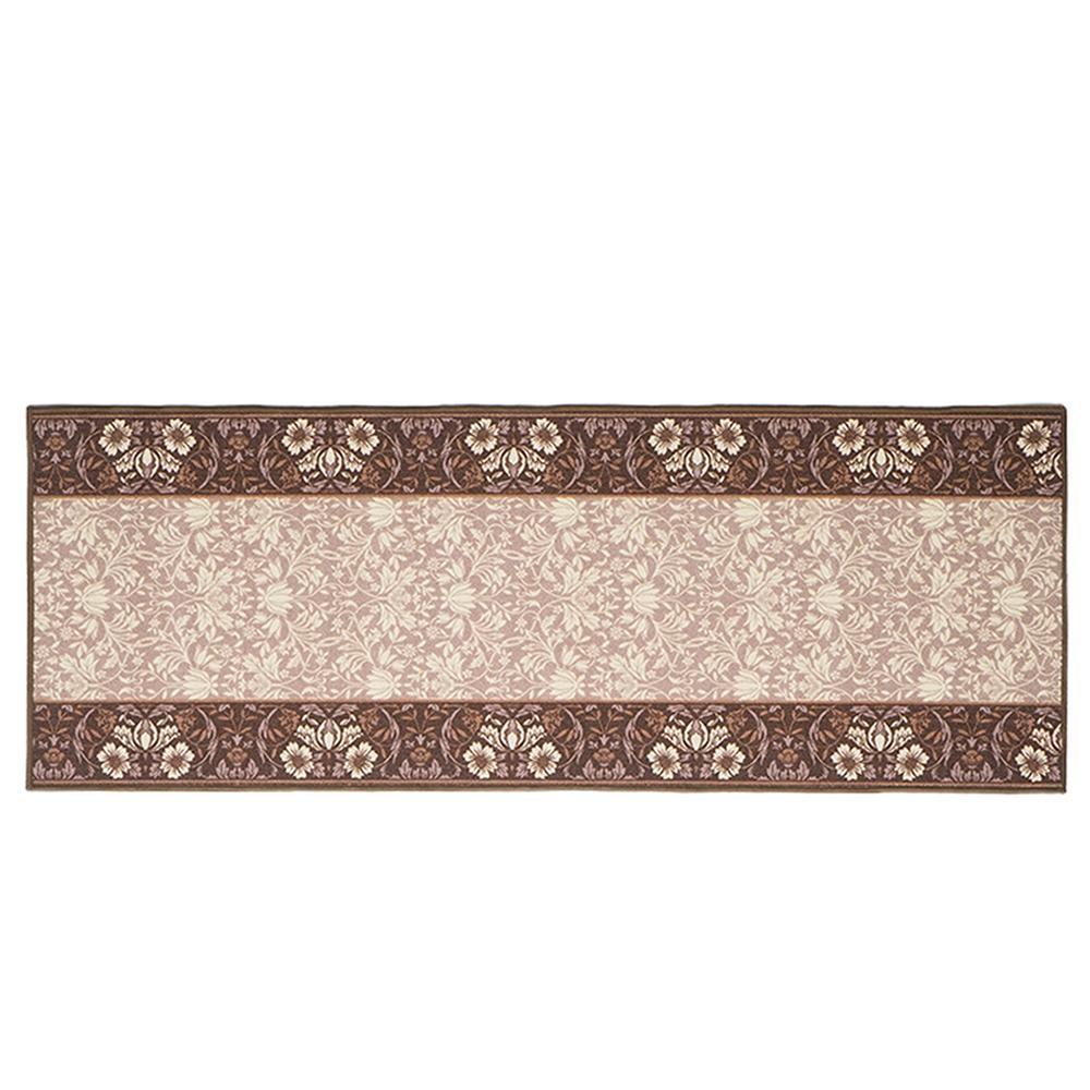 【送料無料】タフトプリント廊下敷き エレガンス ブラウン 約80×540cm 240616844 落ち着きのある上品な色合いと、優雅なデザイン