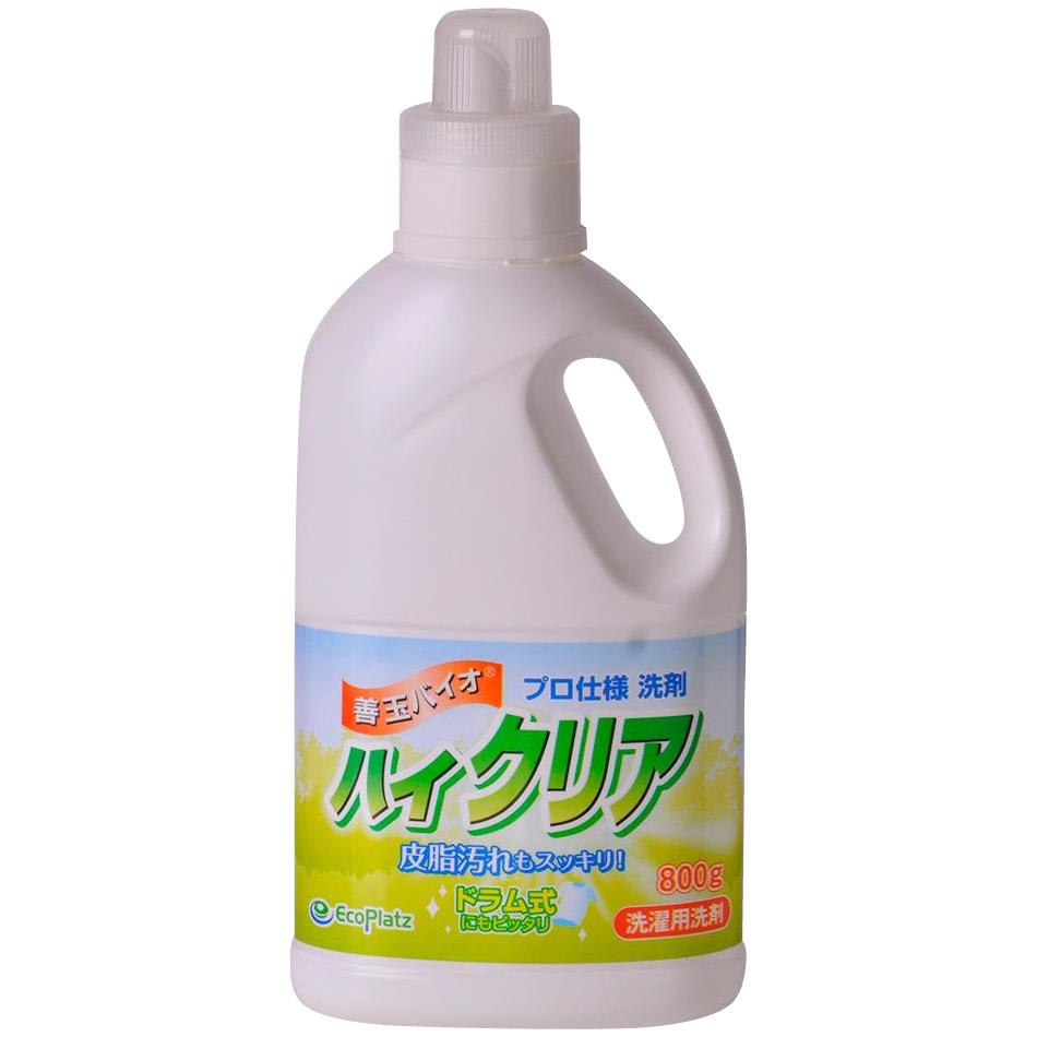 【クーポンあり】【送料無料】善玉バイオ ハイクリア 800g 洗濯用洗剤 ×16本セット/皮脂汚れもすっきり落とせる液体洗剤。