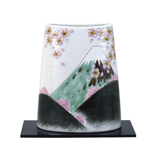 【クーポンあり】【送料無料】九谷焼 良則作 8号花瓶 春の富士 N172-01
