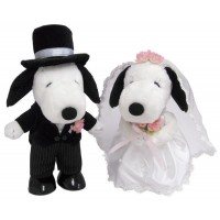 【クーポンあり】【送料無料】SNOOPY(スヌーピー) スヌーピー&ベル ウェディング 洋風 ぬいぐるみ L 182076 結婚のお祝いにピッタリ☆