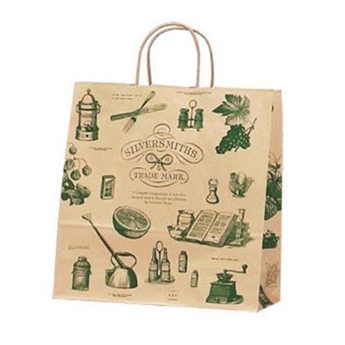 【クーポンあり】ササガワ タカ印 50-5209 手提げ袋 シルバースミス 中 50枚 アンティーク調のイラストが印刷されたナチュラルなデザイン。