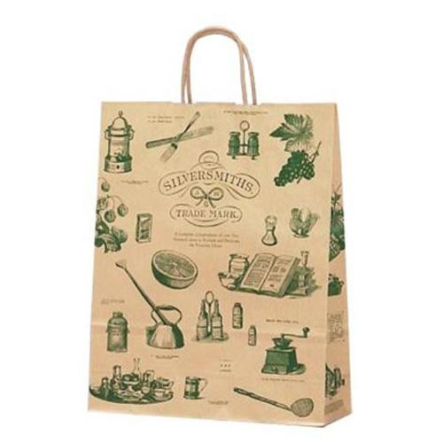 【クーポンあり】ササガワ タカ印 50-5309 手提げ袋 シルバースミス 大 50枚 アンティーク調のイラストが印刷されたナチュラルなデザイン。
