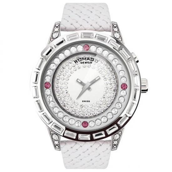 【ポイント10倍】【クーポンあり】【送料無料】ROMAGO DESIGN (ロマゴデザイン) Dazzle series ダズルシリーズ 腕時計 RM006-1477SV-WH 腕を傾けると現れる文字盤。