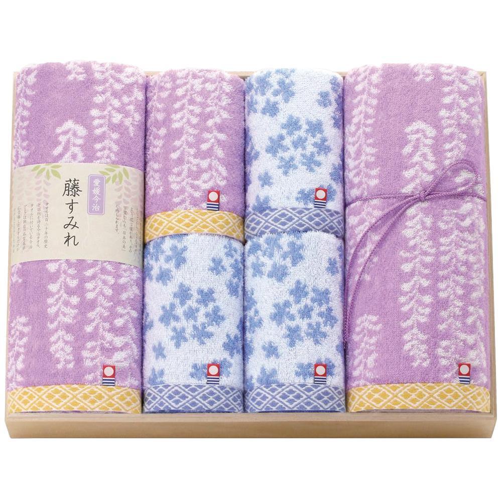 【クーポンあり】【送料無料】トクダ 今治 藤すみれ 日本製 木箱入りタオルセット 62310 淡い色のやわらかいタオル。