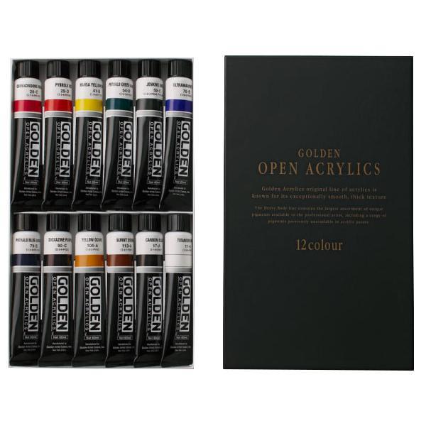 【クーポンあり】【送料無料】ターナー色彩 アクリル絵具 ゴールデンオープンアクリリックス オープンアクリル12色セット GLP6012C
