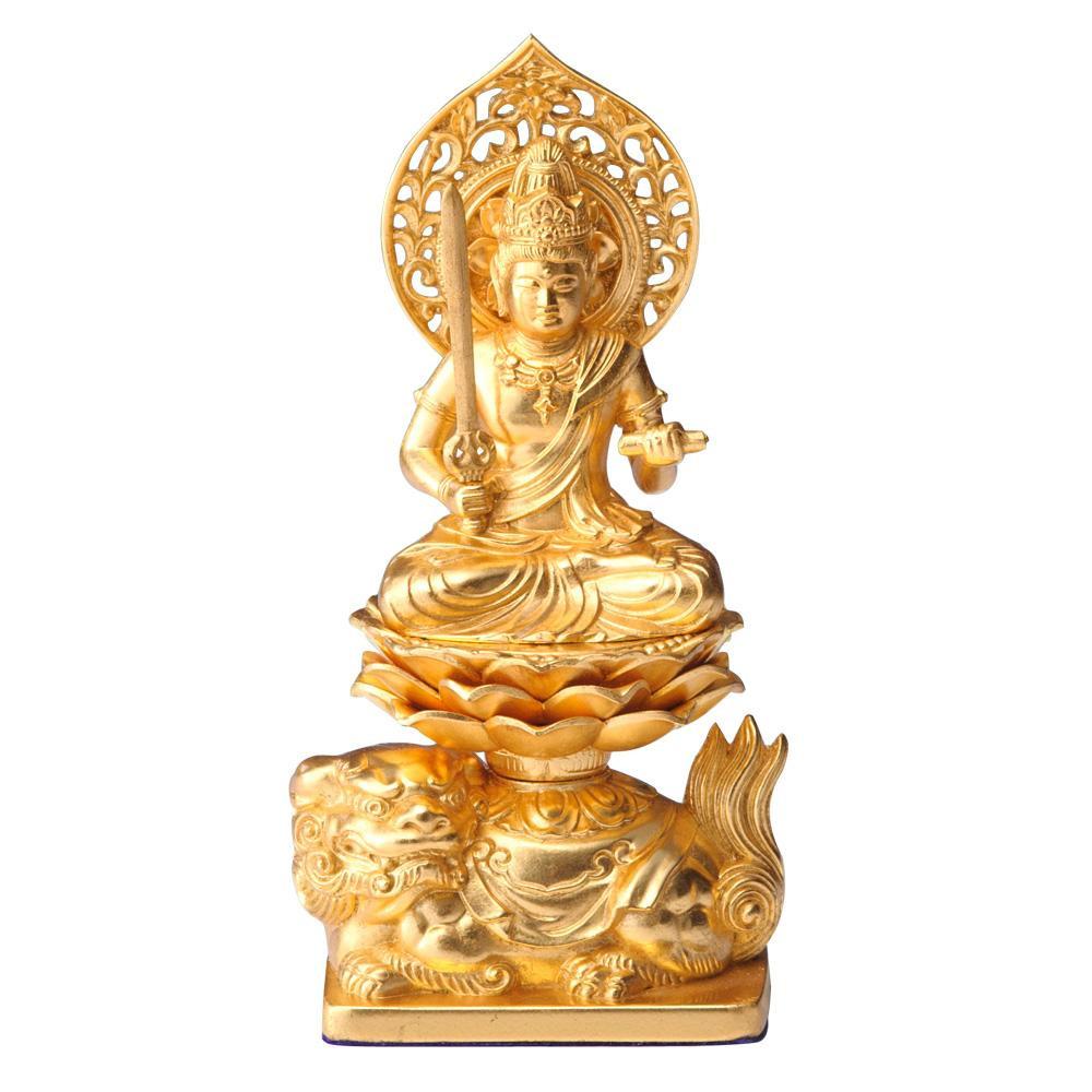 【クーポンあり】【送料無料】文殊菩薩 15cm 金箔仕様 インテリアとして飾れる仏像です。