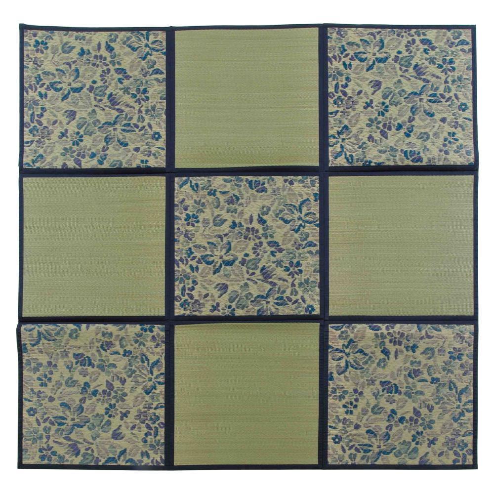 【送料無料】折りたたみ い草アクセントラグ 花園 ブルー 約200×200cm HGW699165 小さく折りたためる、収納に便利な「い草ラグ」です。
