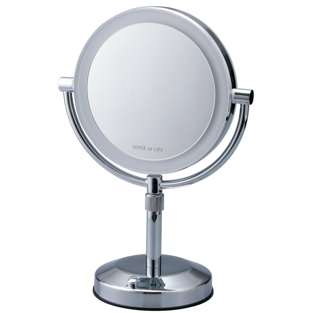 【クーポンあり】【送料無料】鏡 両面P型 EC005PAC-5X 880079 LEDライト付の5倍拡大鏡で、しっかりチェック。