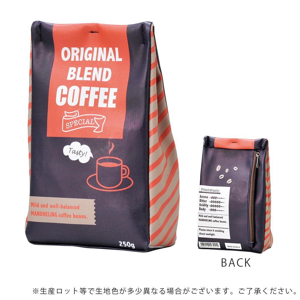 コーヒー豆の袋のようなポーチ クーポンあり セトクラフト 卸直営 コーヒー豆ポーチ 現品 ネイビー SF-4131-NV-140