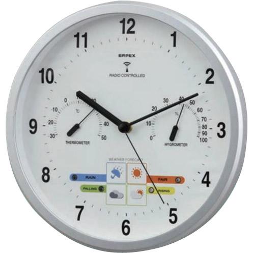 【クーポンあり】【送料無料】EMPEX(エンペックス気象計) ウェザーパル電波時計(1台4役) BW-878 天気予報 乾電池 自動修正 温度 シンプル 湿度 シルバー LED アナログ 壁掛け