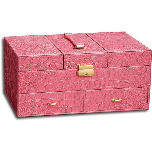 【クーポンあり】【送料無料】ユーパワー Luxury Jewelry case ラグジュアリー ジュエリーケース クロコ ピンク LC-08003