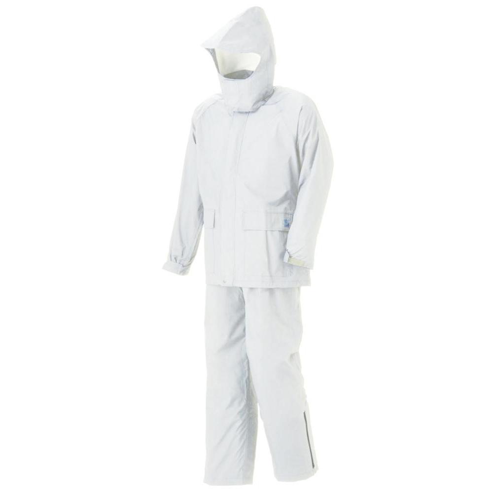 【クーポンあり】【送料無料】スミクラ グリーンレインスーツ A-602白 S ケミカルリサイクル繊維100%使用。環境に優しいレインスーツ。