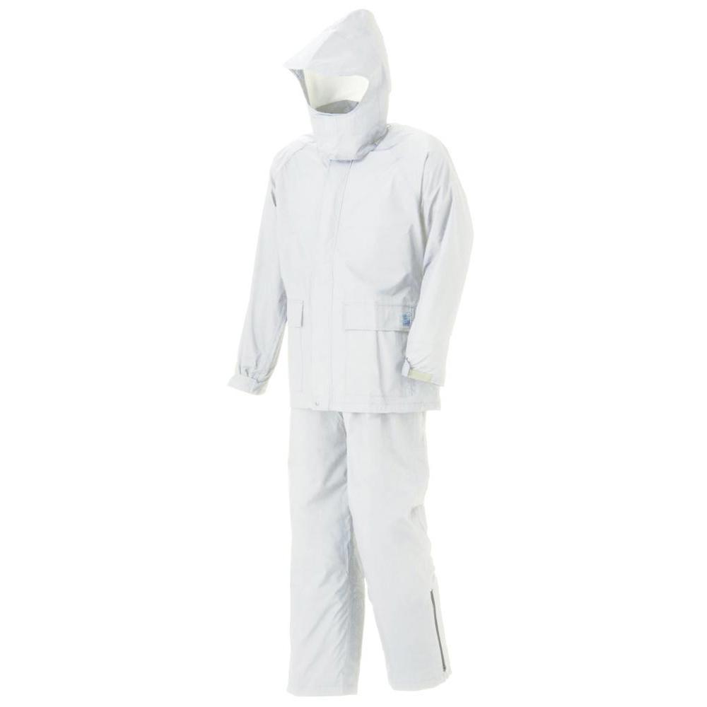 【クーポンあり】【送料無料】スミクラ グリーンレインスーツ A-602白 M ケミカルリサイクル繊維100%使用。環境に優しいレインスーツ。