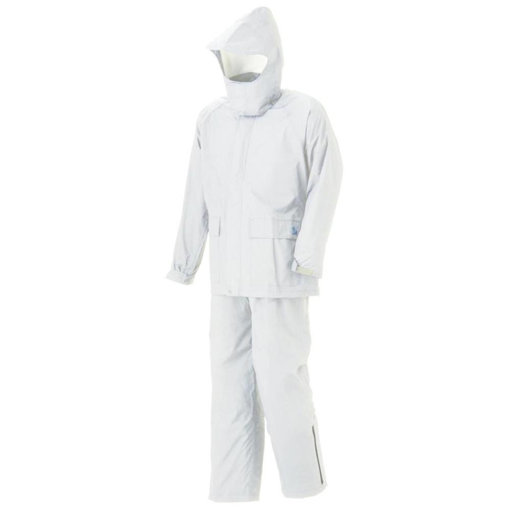 【クーポンあり】【送料無料】スミクラ グリーンレインスーツ A-602白 L ケミカルリサイクル繊維100%使用。環境に優しいレインスーツ。