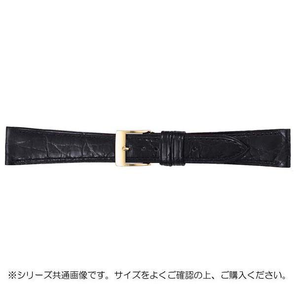 【クーポンあり】【送料無料】BAMBI バンビ 時計バンド グレーシャス ワニ革 黒(美錠:金) BWA112AN