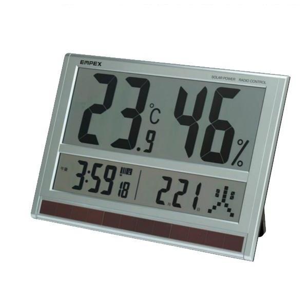 【クーポンあり】【送料無料】EMPEX(エンペックス気象計) ジャンボソーラー温湿度計(時計/カレンダー付) TD-8170 スーパージャンボな温・湿・時計。
