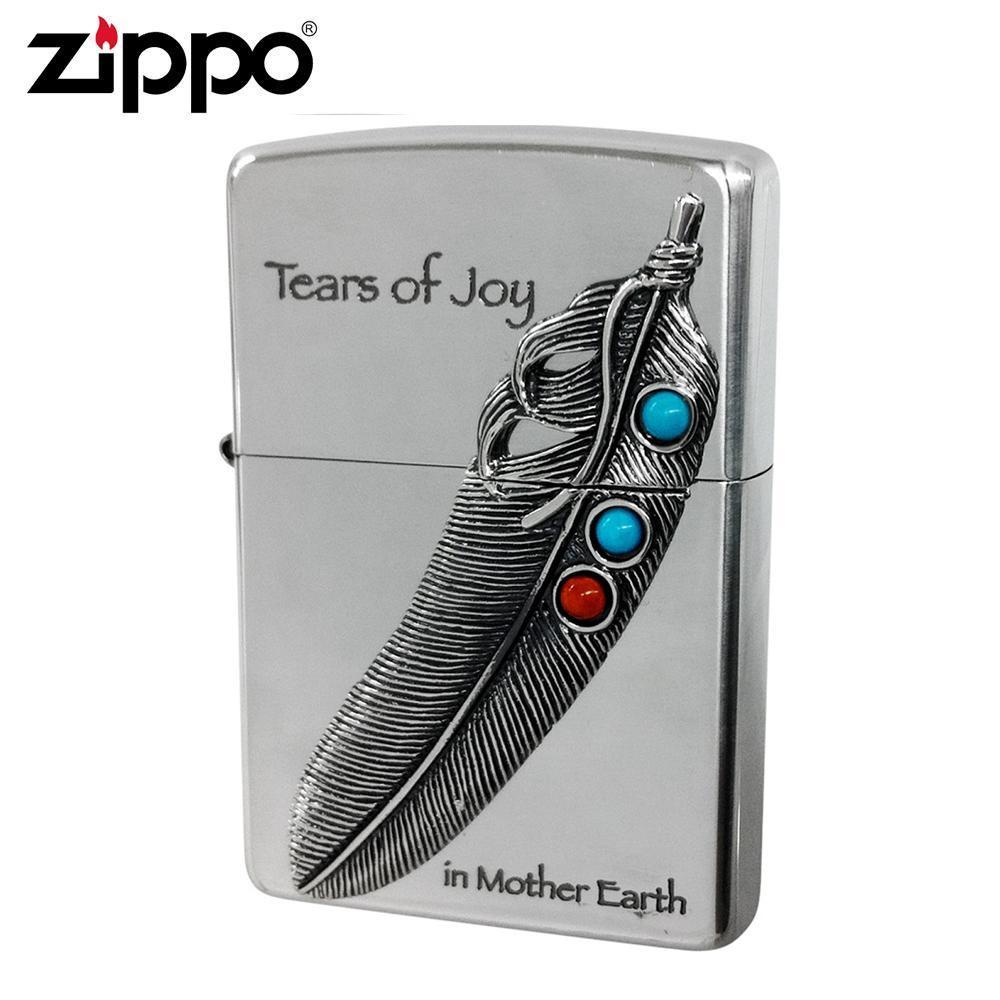 【クーポンあり】【送料無料】ZIPPO(ジッポー) オイルライター NM-フェザー/フェザー柄にサンゴやターコイズをあしらったZIPPO(ジッポー)。