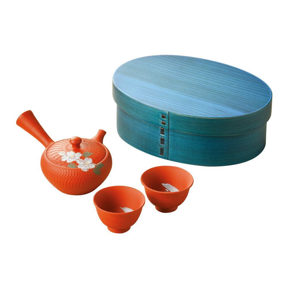【クーポンあり】【送料無料】わっぱ茶器揃え 椿柄 G-325