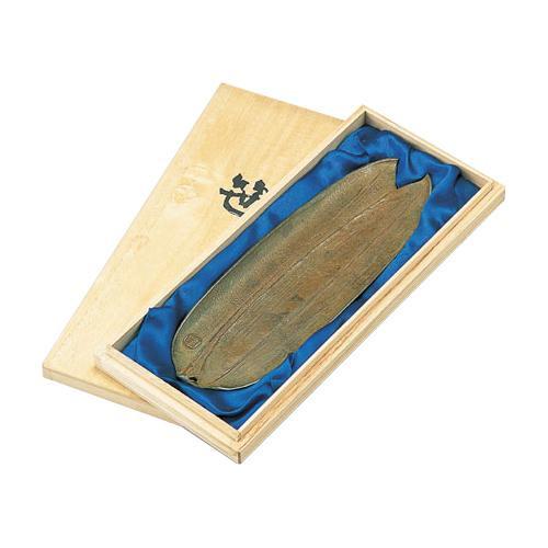 【クーポンあり】【送料無料】高岡銅器 銅製小物 名取川雅司作 ペン皿 笹 55-02