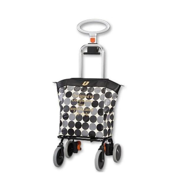 【クーポンあり】【送料無料】ショッピングカート アップライン UL-0218(水玉・ブラック) 保温・保冷バッグ付きのオシャレなワイヤーカート♪