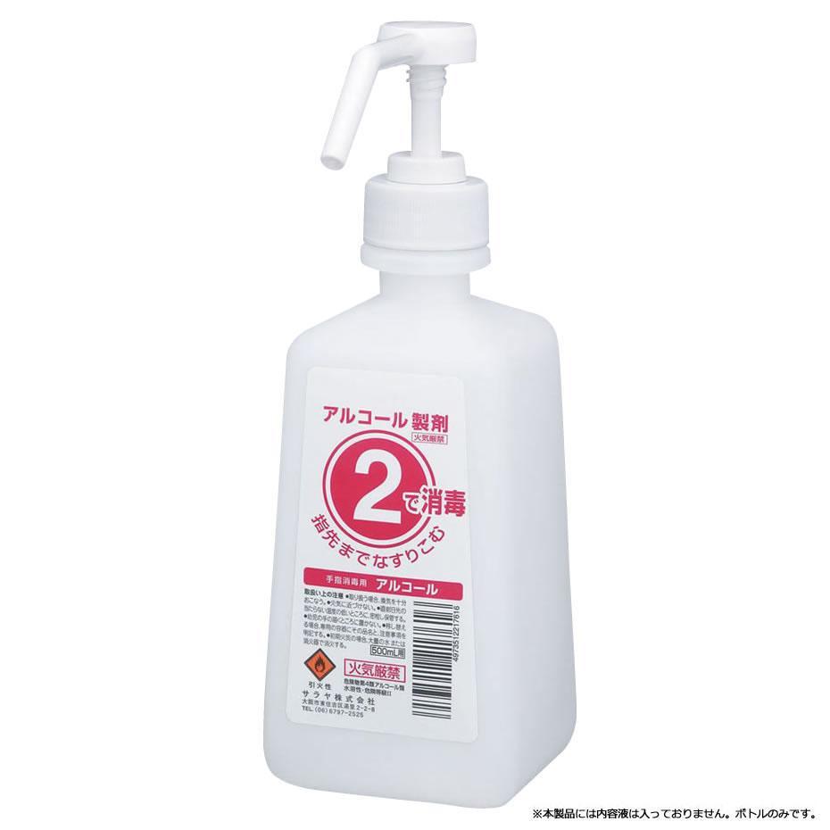 【クーポンあり】【送料無料】サラヤ 2ボトル 噴射ポンプ付 手指消毒剤用 薬液詰替容器 500ml×12本 アルコール消毒用2ボトル、1Lタイプ。