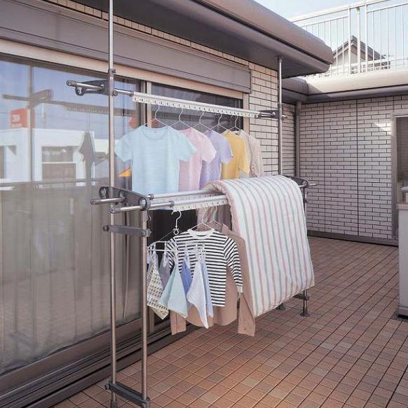 【クーポンあり】【送料無料】セキスイ ベランダものほし スタンドポ-ル DSL-10 寸法の長い洗濯物もベランダでタップリ干せる。