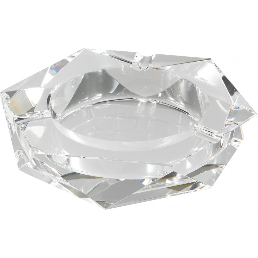 【クーポンあり】卓上灰皿 クリスタルガラス灰皿 ヘキサゴンカット クリスタルガラスの灰皿!