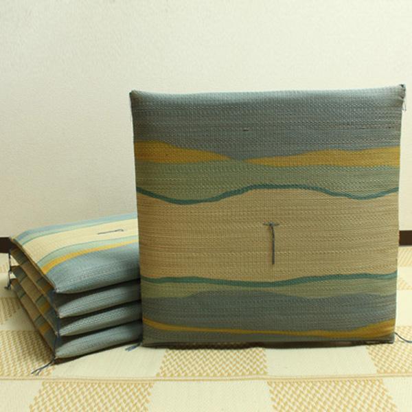 【クーポンあり】【送料無料】純国産 捺染返し い草座布団 『利休 5枚組』 ブルー 約55×55cm 3103900 い草に青森ヒバ加工を施しています。