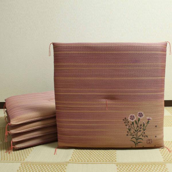 【クーポンあり】【送料無料】純国産 捺染返し い草座布団 『撫子(なでしこ) 5枚組』 約55×55cm 3111950 い草に青森ヒバ加工を施しています。