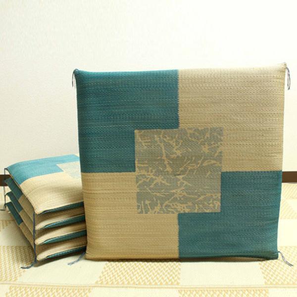 【クーポンあり】【送料無料】純国産 捺染返し い草座布団 『草美(くさび) 5枚組』 ブルー 約55×55cm 3111150 い草に青森ヒバ加工を施しています。