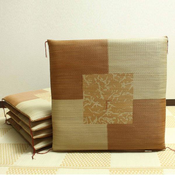 【クーポンあり】【送料無料】純国産 捺染返し い草座布団 『草美(くさび) 5枚組』 ブラウン 約55×55cm 3116550 い草に青森ヒバ加工を施しています。