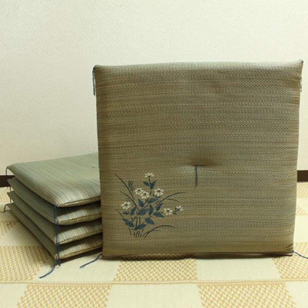 【クーポンあり】【送料無料】純国産 捺染返し い草座布団 『小花 5枚組』 ブルー 約55×55cm 3113800 い草に青森ヒバ加工を施しています。