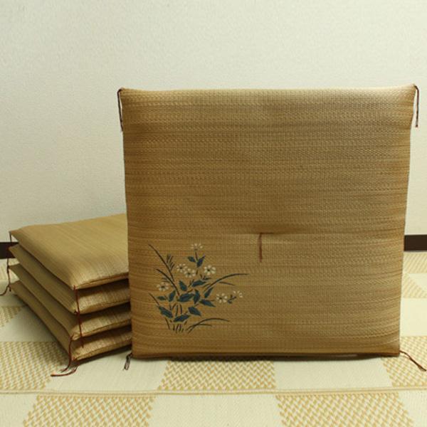 【クーポンあり】【送料無料】純国産 捺染返し い草座布団 『小花 5枚組』 ベージュ 55×55cm 3113850 い草に青森ヒバ加工を施しています。